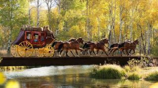 Wells Fargo Stagecoach on bridge