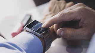man using smart watch